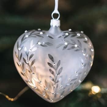 Sklenená vianočná ozdoba Leaves Matt grey - srdce