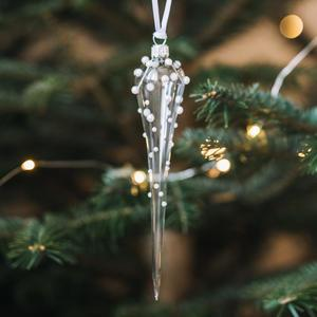 Skleněná vánoční ozdoba Pearls Clear - rampouch