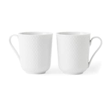 Porcelánový hrnček Rhombe White 330ml - set 2 ks