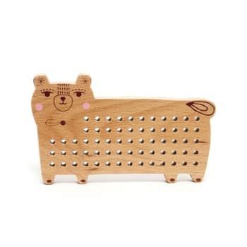 Dřevěná provlékací hračka Bear