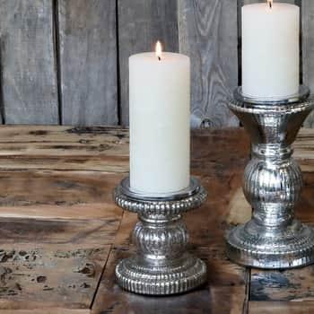 Skleněný svícen pro vysokou svíčku Grooves Antique Silver