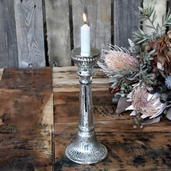 Svícen na vysokou svíčku Grooves Antique Silver