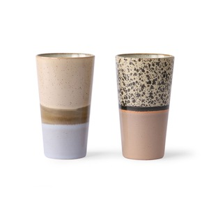 Vysoký latte cup Multicolour - set 2 ks