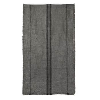 Bavlněný běhoun Dark Grey Striped Fringes