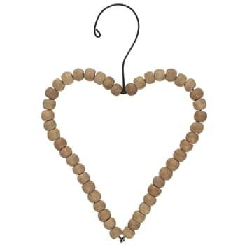 Závesná drevená dekorácia Heart Wooden Beads - větší