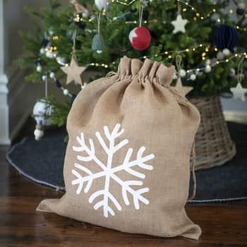Vánoční jutový pytel na dárky Snowflake