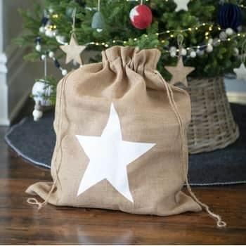 Vánoční jutový pytel na dárky Star