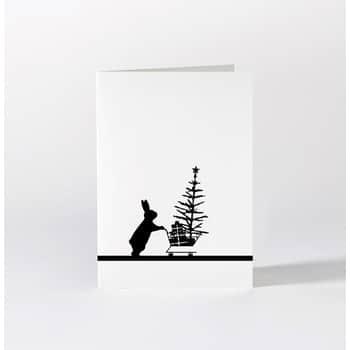 Černobílé vánoční přání Christmas Shopping Rabbit