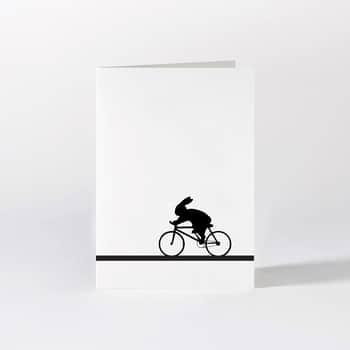 Černobílé přání Bike Racing Rabbit