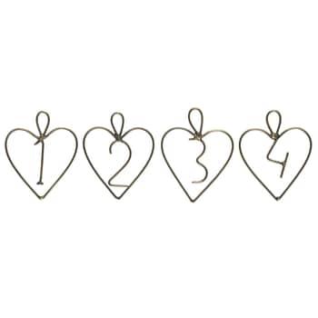 Kovové štítky na adventný veniec Heart Gold 1-4