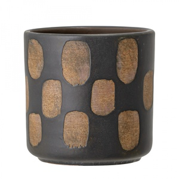 Terakotový obal na květináč Dot Black 12 cm