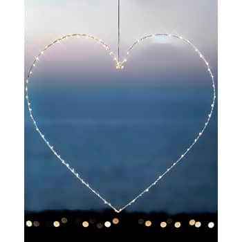 Svietiace LED srdce Liva White 70 cm