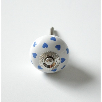 Porcelánová úchytka Blue Heart 4cm