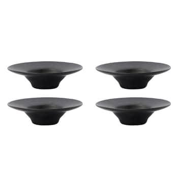 Porcelánový stojánek na vejce Pion Black - set 4 ks