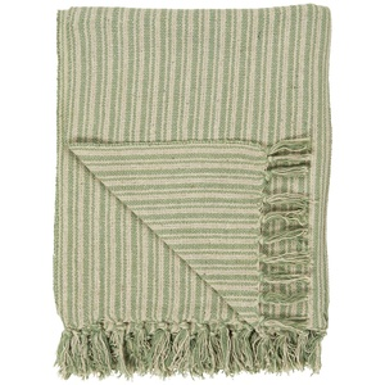 Bavlnený pléd Cream Green Stripe 130 × 160 cm