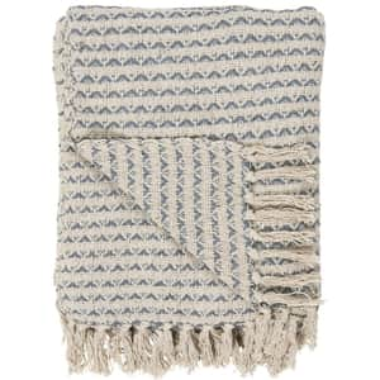 Bavlnený pléd Cream Blue Pattern 130 × 160 cm