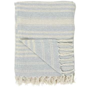 Balvněný přehoz Cream Light Blue Stripe 130 × 160 cm
