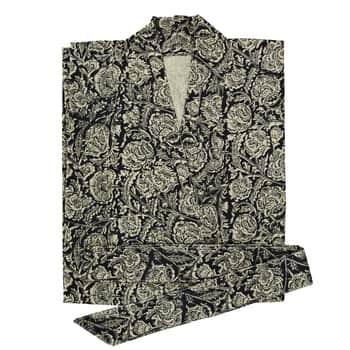 Bavlněné kimono spáskem Black Flower