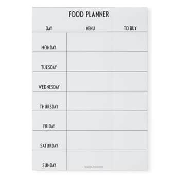 Týždenný plánovač jedla White