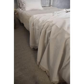 Bavlněný přehoz na postel Lace Beige 140 × 280 cm