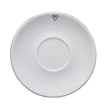 Porcelánový podšálek 15 cm - srdíčko na kraji