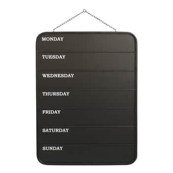 Plechová křídová tabule Weekdays