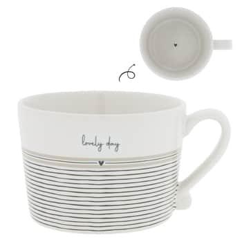 Porcelánový hrnek White/Stripes Lovely Day 300ml