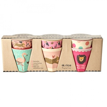 Melaminové kalíšky Jungle Pink Small - set 6 ks