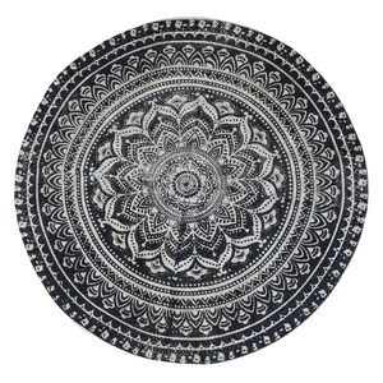 Okrúhly jutový koberec Black Floral 120 cm