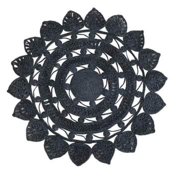 Okrúhly jutový koberec Black