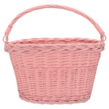Proutěný košík na kolo Pale Pink