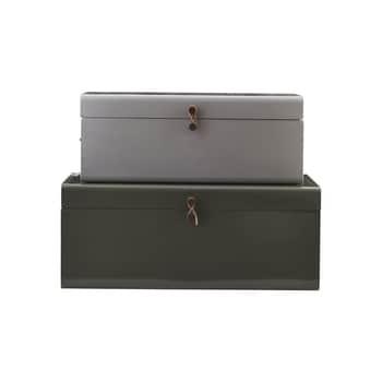 Kovový úložný box Green/ Grey