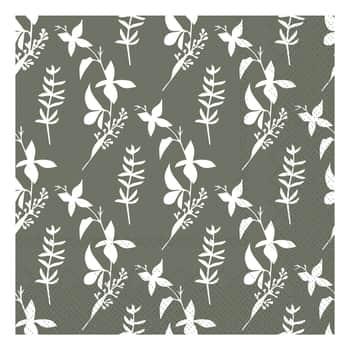 Papírové ubrousky Flowers Moss Green 20 ks
