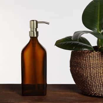 Skleněný obdélníkový zásobník na mýdlo Amber Gold 500ml