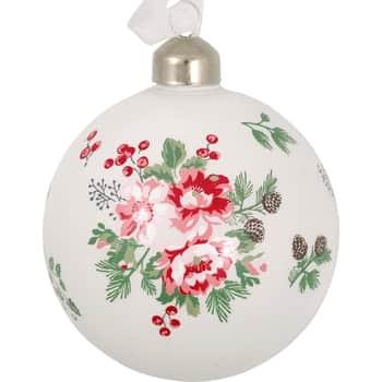Skleněná vánoční baňka Charline White 8 cm