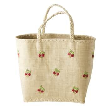 Ručně pletená nákupní taška Red Flowers Large