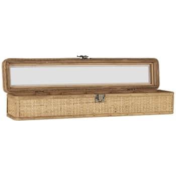 Dřevěná šperkovnice svíkem Oblong Rattan