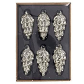Skleněná vánoční ozdoba Cone Silver - Set 6 ks