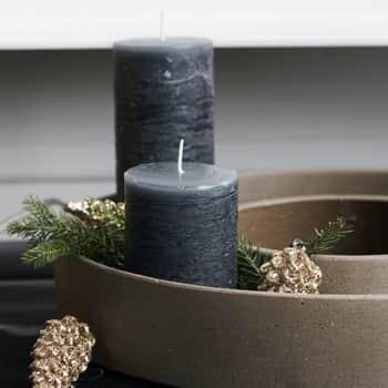 Svíčka Pillar Rustic Dark Grey 10 cm - set 2 ks