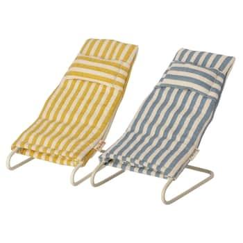 Plážové lehátko pro zvířátka Maileg Mouse Stripe - Set 2 ks