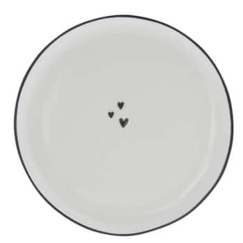 Keramický dezertný tanier Little Hearts Black 16 cm