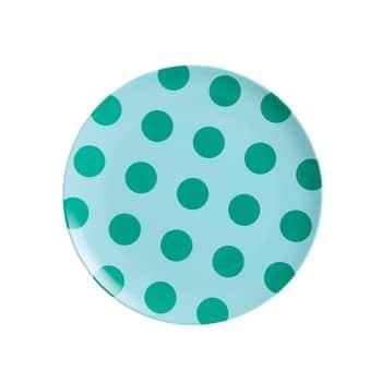 Melaminový talířek Mint Green Dots