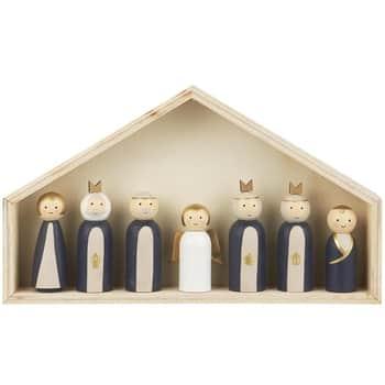 Dřevěný betlém se 7 figurkami Wood