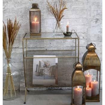 Sklenený stolík so stojanom na časopisy Antique Brass