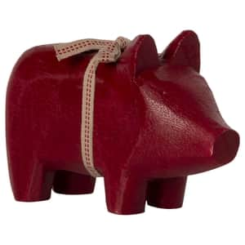 Dřevěný svícen Wooden Pig Red Small