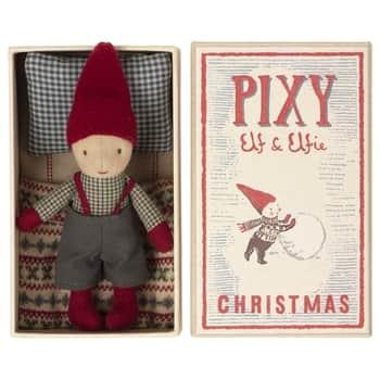 Vánoční skřítek Pixy Elf vkrabičce od sirek Boy