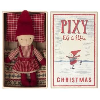 Vánoční skřítek Pixy Elfie vkrabičce od sirek Girl