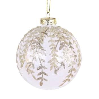 Vánoční baňka Glitter Clear Leaf 8 cm